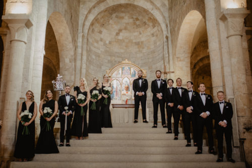 bridesmaids and groomsmen in black